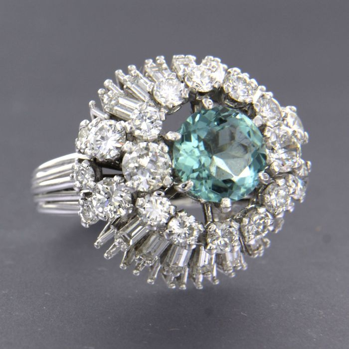 18 kt. White gold - Ring - 1.95 ct aquamarine - Diamond