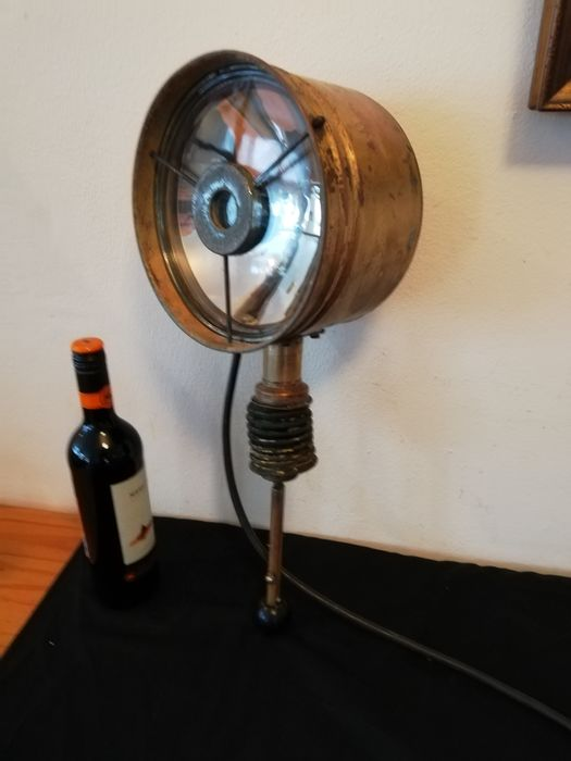 Antique Search Light from a Dutch barge  - Copper Brass Glass electric cables  - Early 20th century