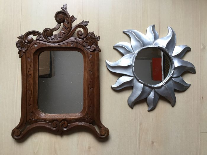Beautiful mirrors Sun mirror and carved wood carved Mirror (2) - Wood