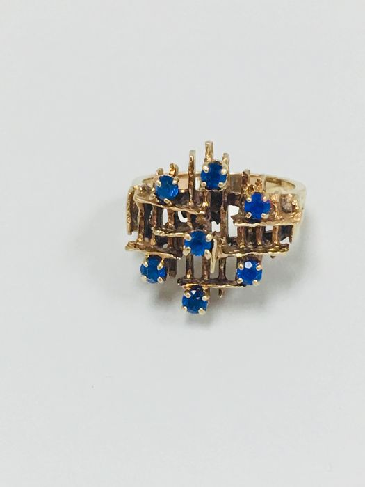10 Kt  Yellow gold - Ring - 0.35 ct Sapphire - Sapphire