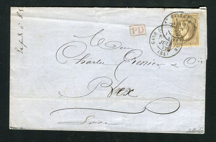 France 1872 - Rare letter from St Etienne to Bex (Switzerland) with a No. 30, with date postmark