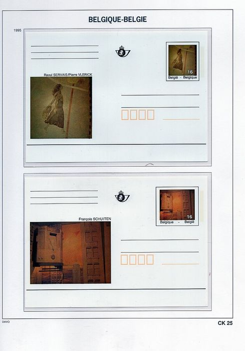 Belgium - Postcards on Davo LX sheets and single cards - OBP / COB