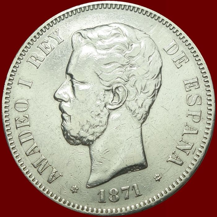 Spain - 5 Peseta 1871(74)-DEM Amadeo I - Silver