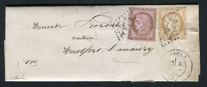 France 1875 - Rare letter from Maule to Montfort l'Amaury with No. 54 and 55