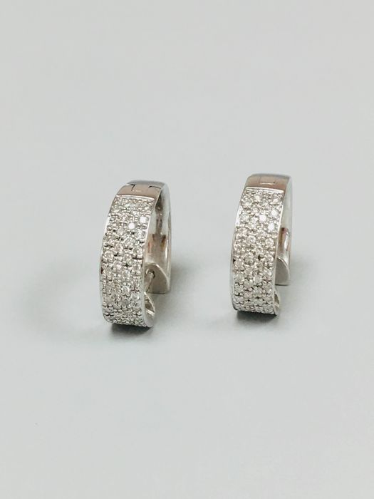 White gold - Earrings - 1.08 ct Diamond - Diamond