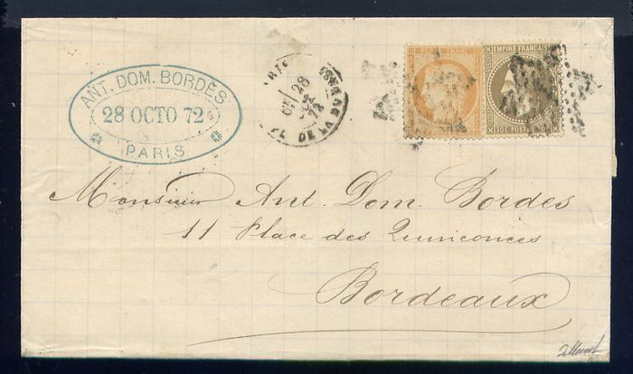 France 1872 - Rare triple port letter from Paris to Bordeaux with No. 30 & 38 with triple postage