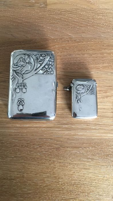 Cigarette box (2) - .800 silver - Germany - Early 20th century