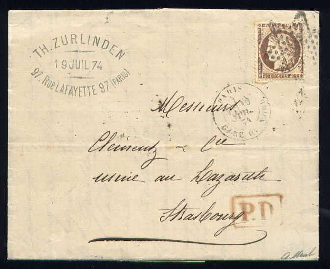 France 1874 - Rare letter from Paris to Strasbourg (German Empire) with a No. 38
