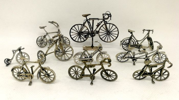 Collection of Ten Miniature Bicycles (10) - .800 silver - Italy - Second half 20th century