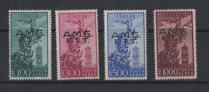 Triest - Zone A 1948 - AMG FTT - Capitol set overprinted on two rows - Sassone N. S.41