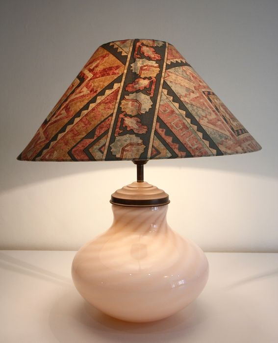 Table lamp in opaline glass - Opal glass, copper and fabric