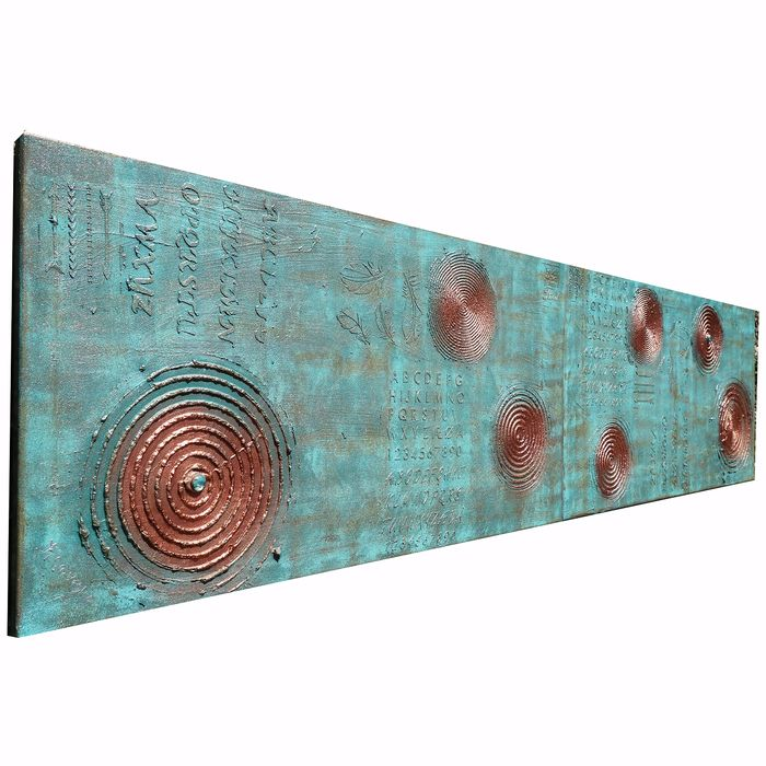 Ksavera - copper patina Abstract A382 - textured diptych