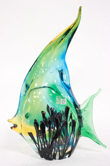 Signed COSTANTINI SERGIO - Beautiful fish sculpture in original Murano glass (ITALY) 36 cm - Murano's glass