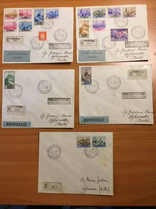 San Marino 1949/1950 - FDC - complete landscapes set (16 values) on 5 registered envelopes + express stamp to Vegliomosso