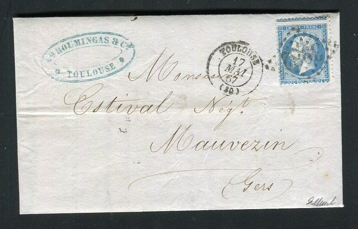France 1867 - Rare letter from Toulouse with a No. 22, mis-perforated variety
