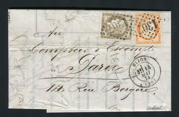 France 1874 - Rare letter from Dijon to Paris with triple postage with No. 38 and 56