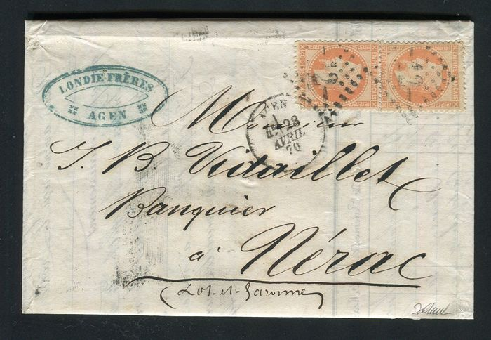 France 1870 - Rare letter from Agen for Nerac with triple postage with two No. 31
