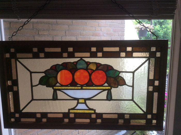 "Window hanger Art Deco style of ""Vase with Oranges"" - Stained glass"
