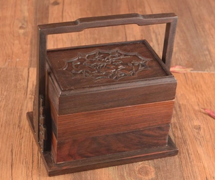 Small Wooden Two Layers Box (1) - Hand Carved - China - Late 20th century