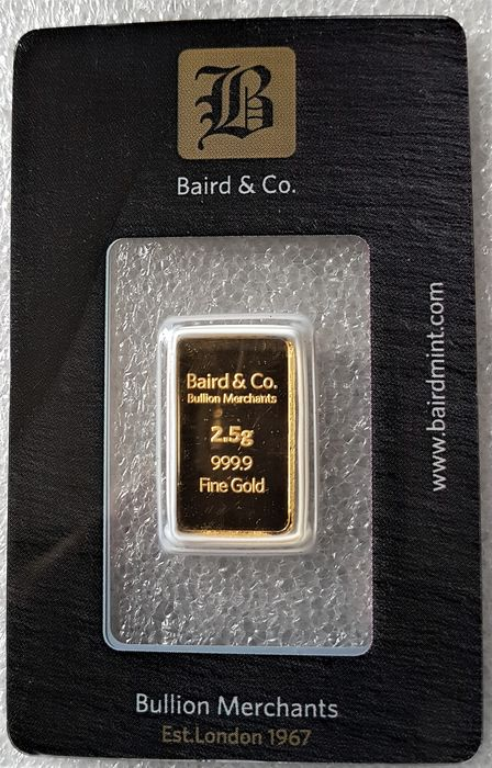 2.5 gram - Gold, LBMA .999 (24 kt.) - Seal+Certificate, BAIRD & CO - LONDON