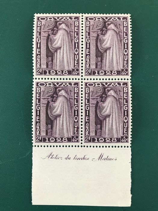 Belgium 1928 - 2Fr first Orval block of four with edge inscription - OBP / COB 263