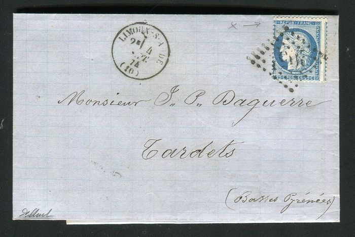 France 1874 - Rare letter from Limoux to Tardets with a No. 60 - shifted perforation variety and missing upper