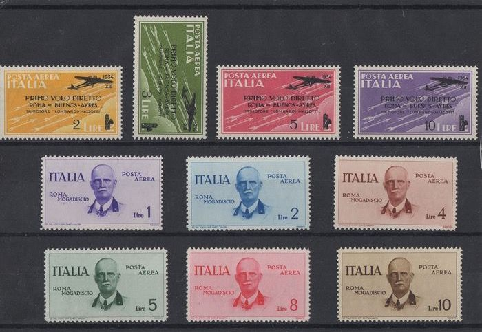 Italy Kingdom 1917/1934 - Airmail set, various issues. - Sassone N.1 , N.2, S.1511 , S.1515