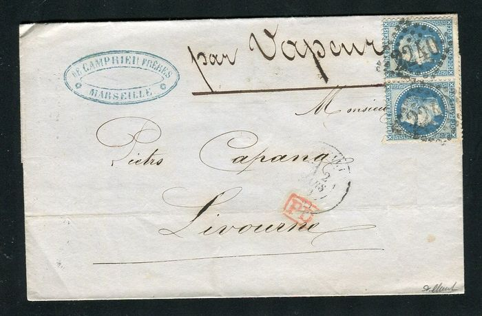 France 1869 - Rare letter from Marseille to Livorno (Italy) with a pair of No. 29
