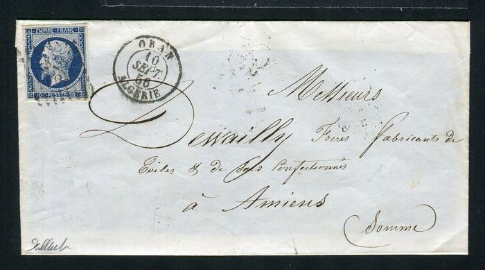 France 1856 - Two rare letters sent from Oran (Algeria - North Africa) to Amiens
