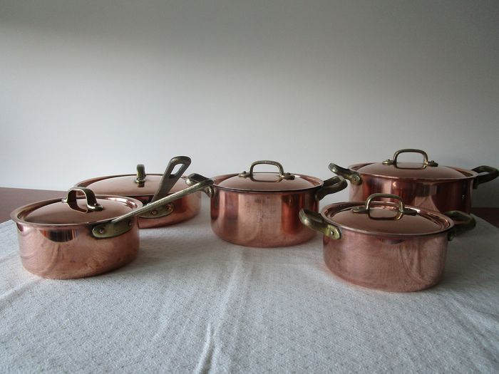 Heavy cookware set Tagus Shef Portugal (5) - copper, tin