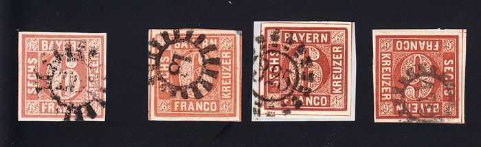 Bavaria 1849/1858 - all 4 plates, maximum value 4 I expertised with short-expert finding - Michel 4 I, 4 II1, 4 II2, 4 II3