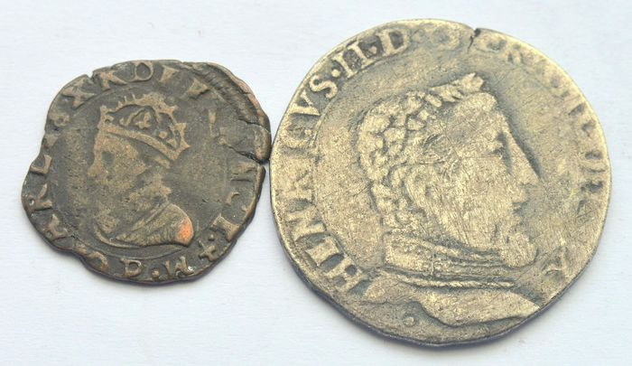 France - Teston 1551-1559 Henry II + Double Tournois 1593 Charles X (2 coins)  - Copper, Silver