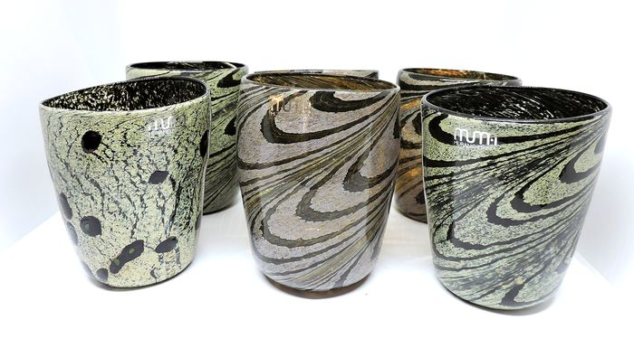 Serving glasses performed without the molds with murrina and silver leaf (6) - Murano Glass