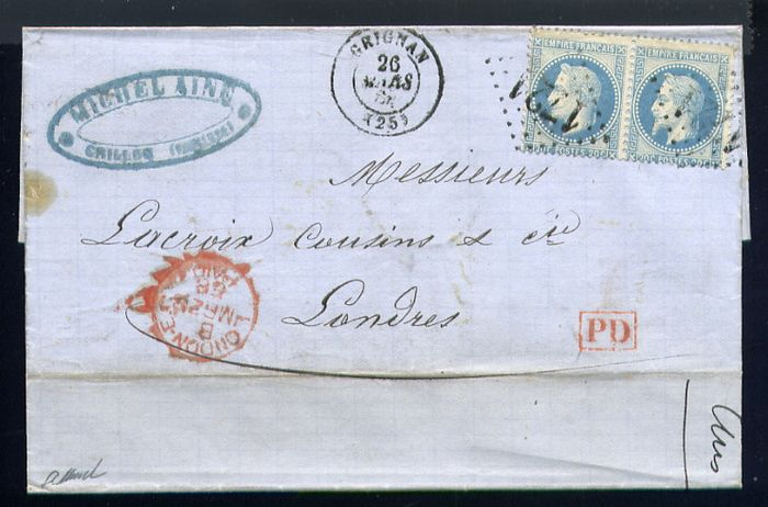 France 1868 - Rare letter from Grignan to London with a pair of No. 29