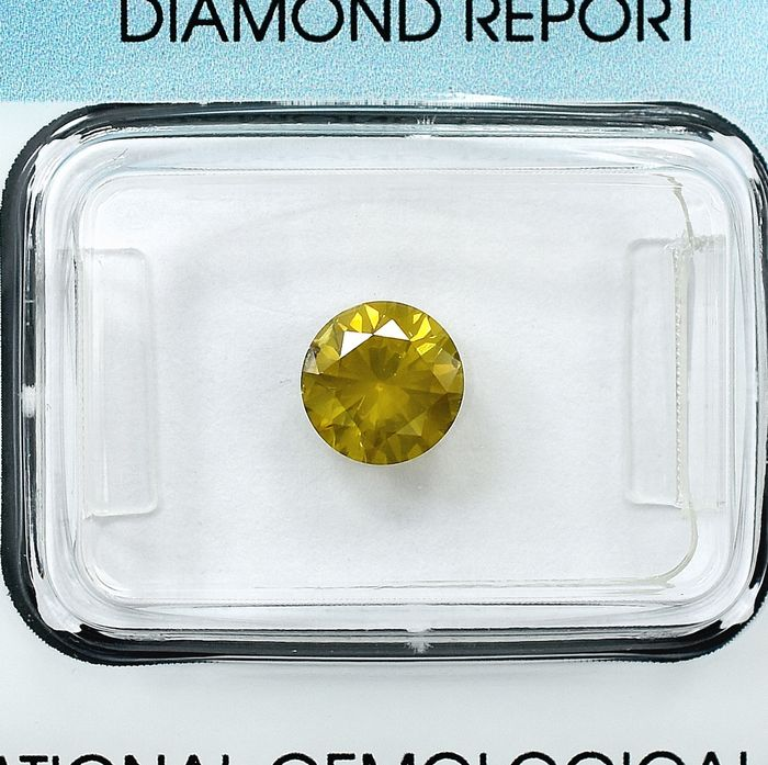 Diamond - 1.04 ct - Brilliant - Colour Treated, Fancy Yellow - I1