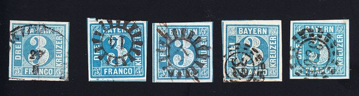 Bavaria 1849/1858 - all 2 plates, maximum value 2 I expertised, all values without errors - Michel 2 Ia, 2 II2, 2 II3, 2 II4, 2 II5