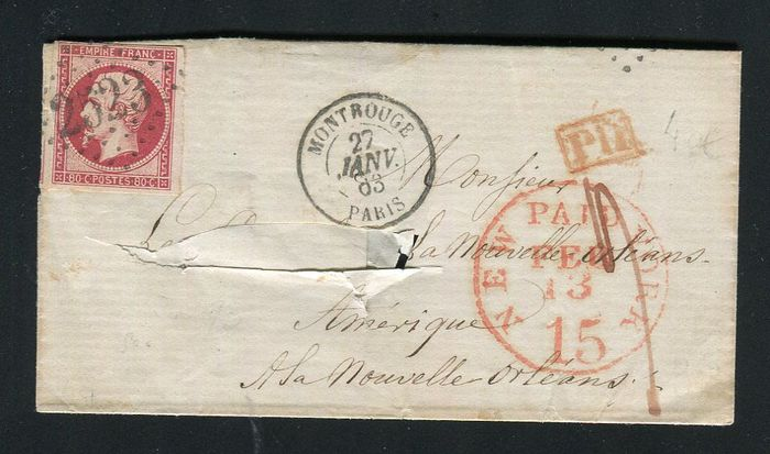 France 1863 - Rare letter from Montrouge to New Orleans (USA) with a No. 17B
