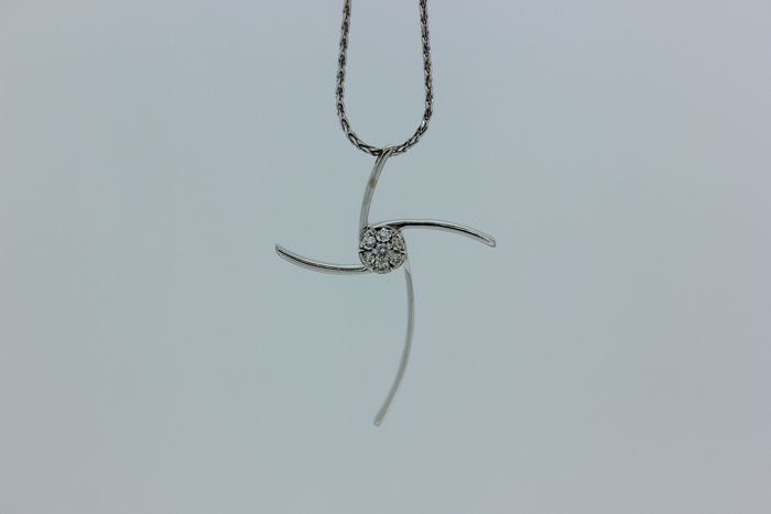 Chimento - 18 kt. White gold - Necklace with pendant - 0.15 ct Diamond