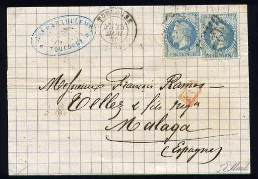 France 1870 - Rare letter from Toulouse to Malaga (Spain) with two No. 29