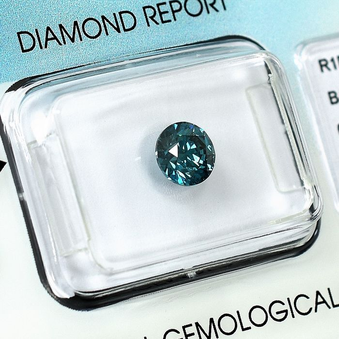 Diamond - 0.89 ct - Brilliant - Colour Treated, Fancy Blue - SI1