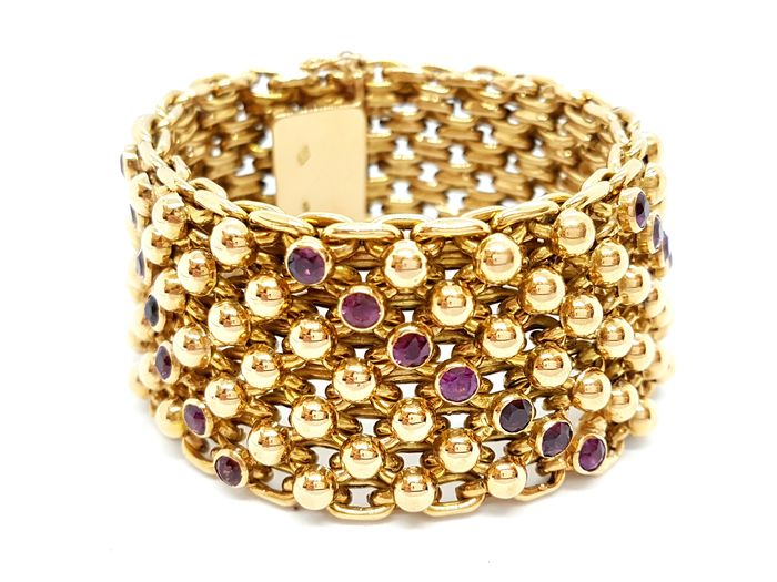 18 kts. Yellow gold - Bracelet Amethyst