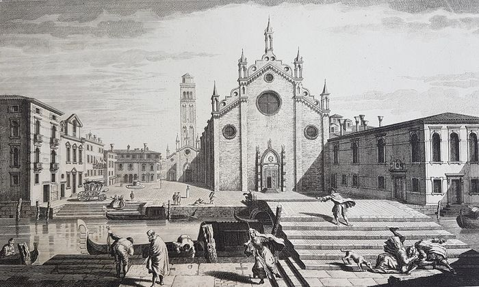 Thomas Bowles (c.1712-1767), after Michele Giovanni Marieschi (1696/1710-1743) - View of Church and Place of the Minor conventual Monks, Venice