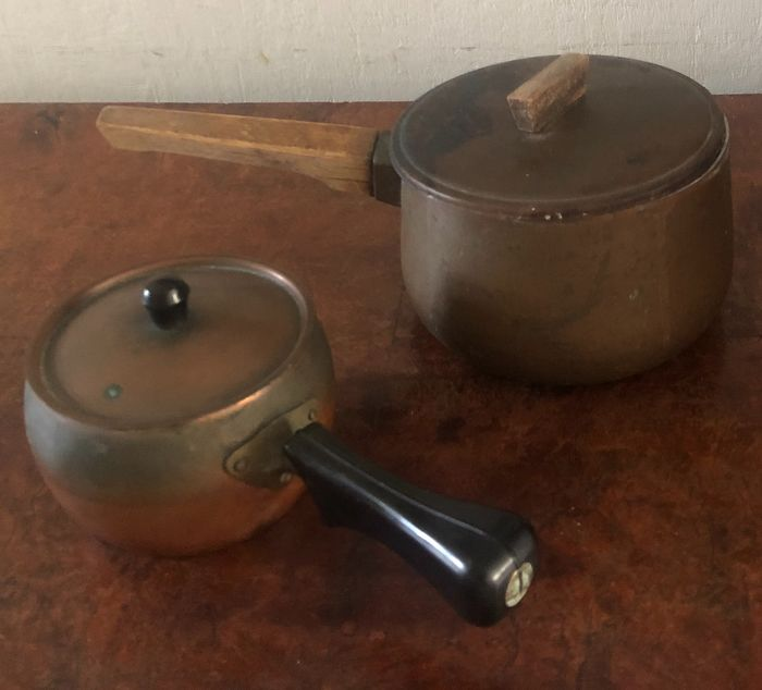 Two  wonderful copper French   cooking saucepans  - Copper