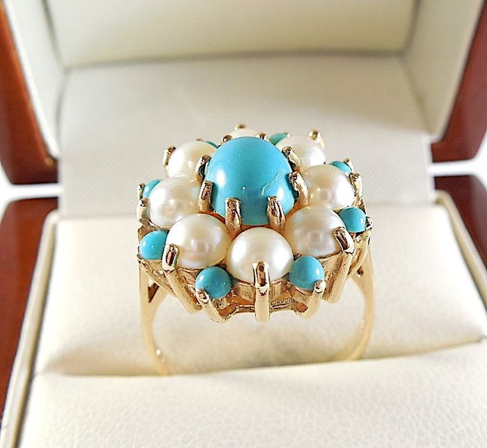 375 Yellow gold - Ring Turquoise - Pearls