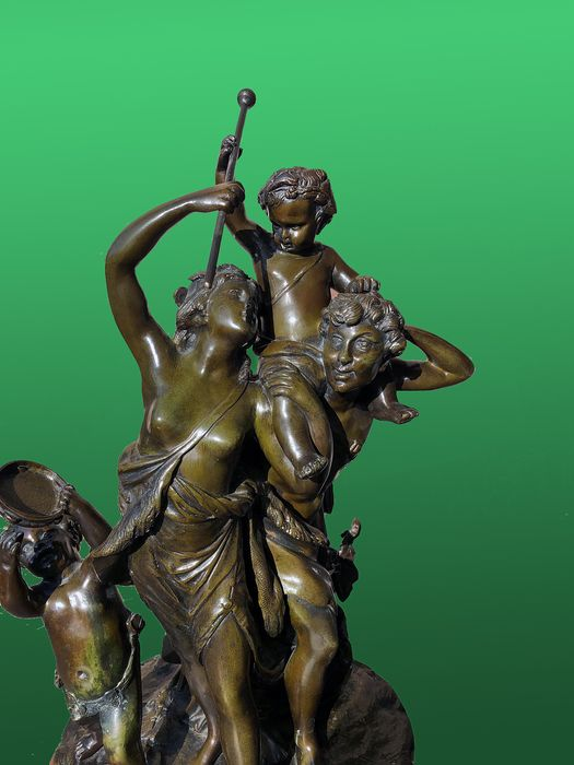 After Clodion - Sculpture, Family of Bacchantes - 45 cm - Bronze (patinated) - Early 20th century