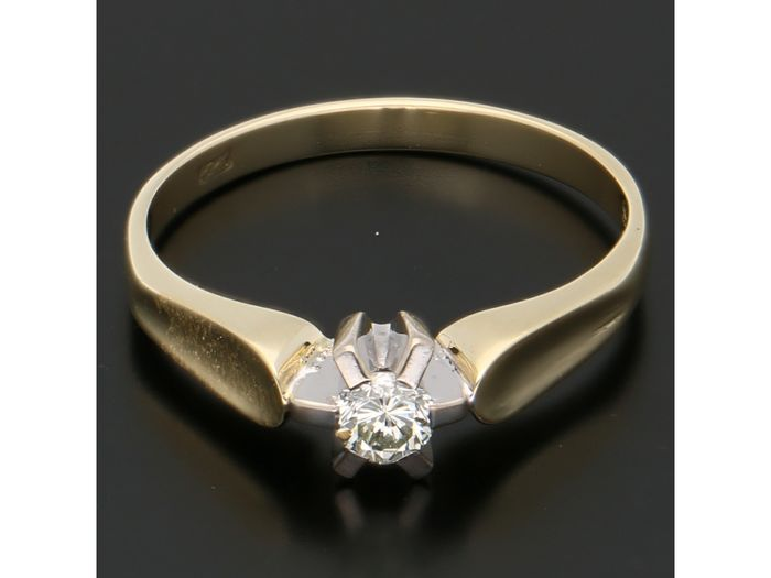 14 kt. Bicolour, Gold - Ring - 0.11 ct Diamond