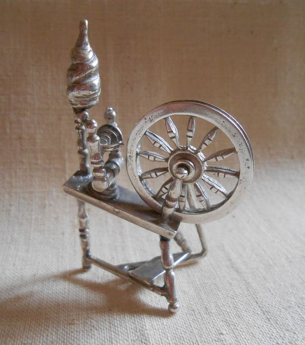 Large Dutch handmade silver miniature spinning wheel 31