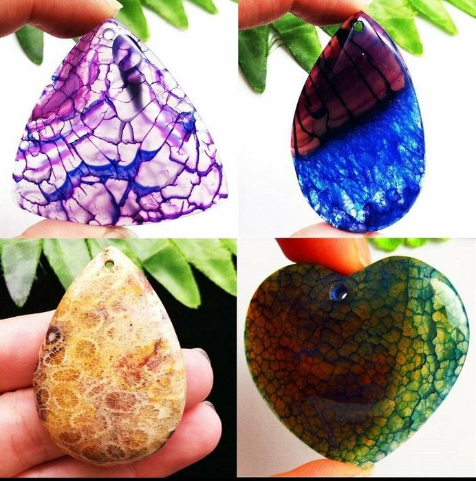 4 Pendant - Nipomo Coral Fossil and Dragon Veins Agate - 78.8 g