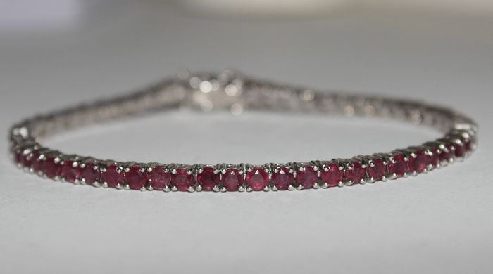 Platinum Plated - 925 Silver - Bracelet - 8.25 ct Ruby