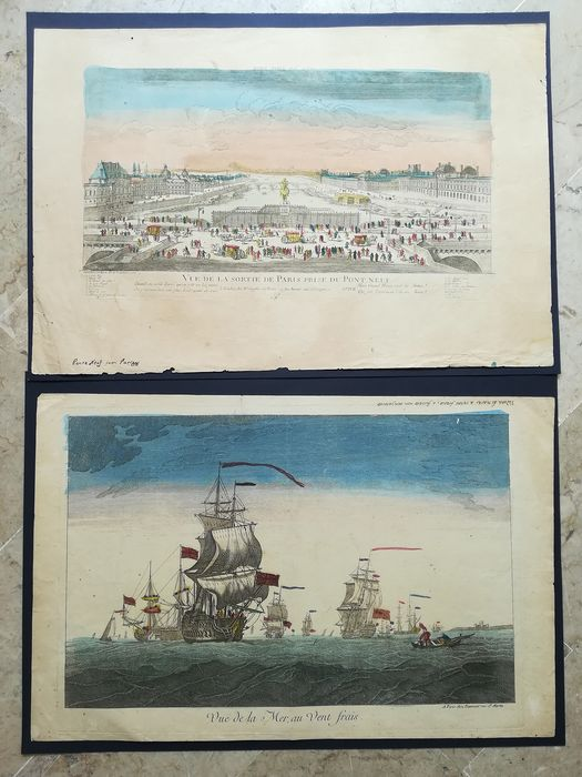 paris -martin xviii - Lot of 2 etchings, Paris